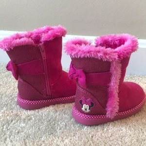 Pink Furry Kids Boots